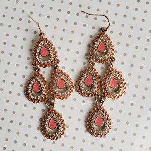 Jewelry - Pink and Goldtone Chandelier Earrings